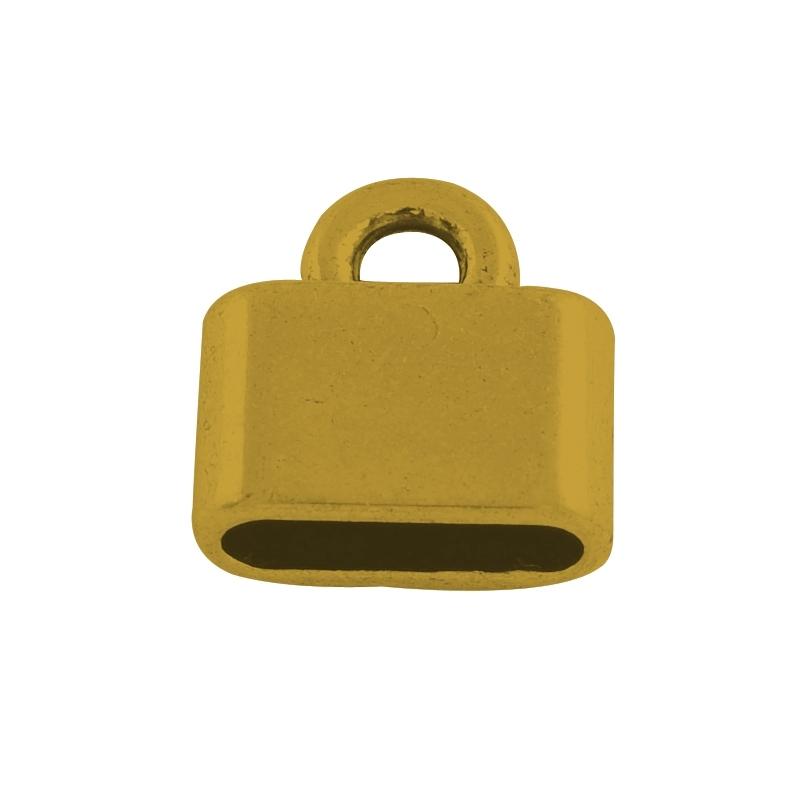 Eindkapje voor plat leer oud goud 10mm