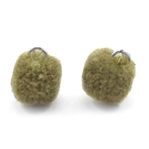 Pompom bedel met oog zilver 15mm olive green