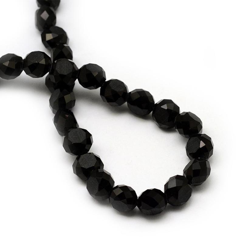 Glaskraal electroplated facet black 10mm