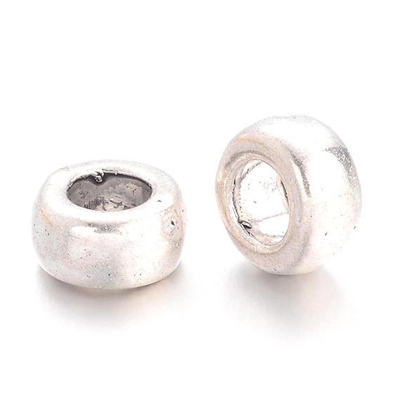 Metalen kraal ring zilver 6mm
