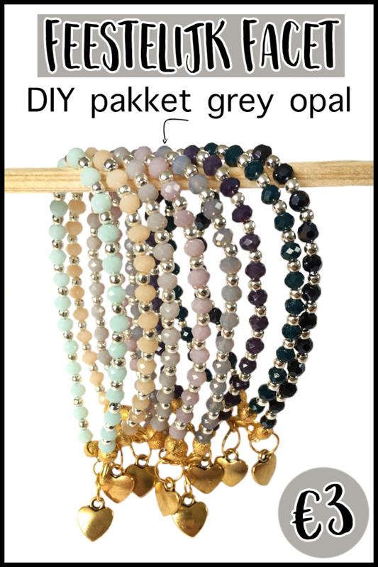 DIY pakket feestlijk facet grey opal