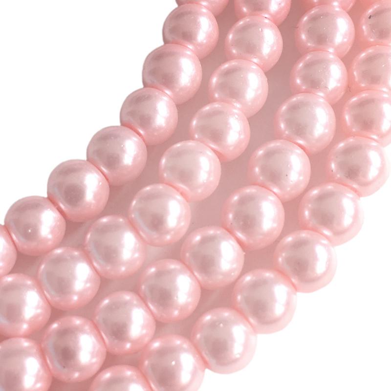 Glasperlen pearl baked pink 6mm