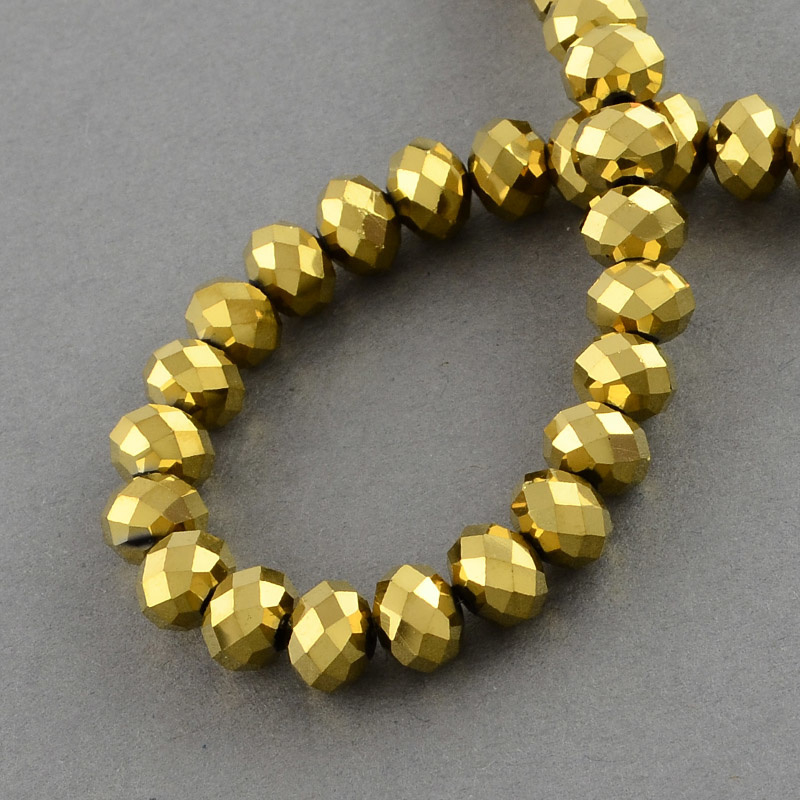 Glasperlen facet 6x4mm gold
