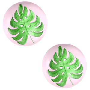 Cabochon 12mm Tropical leaf-palace rose