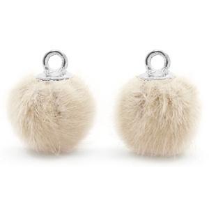 Pompom bedels met oog faux fur 12mm Sand beige-silver