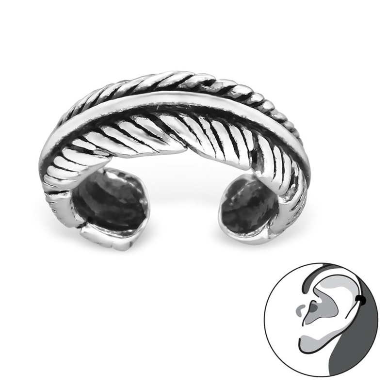 Ear cuff feather - 925 sterling silver