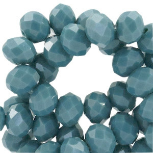 Glaskraal facet teal blue opaque 8x6mm