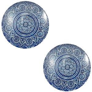 Cabochon mandala 12mm denim blue