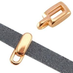 DQ metaal schuiver met oog rechthoek 5mm rosé goud
