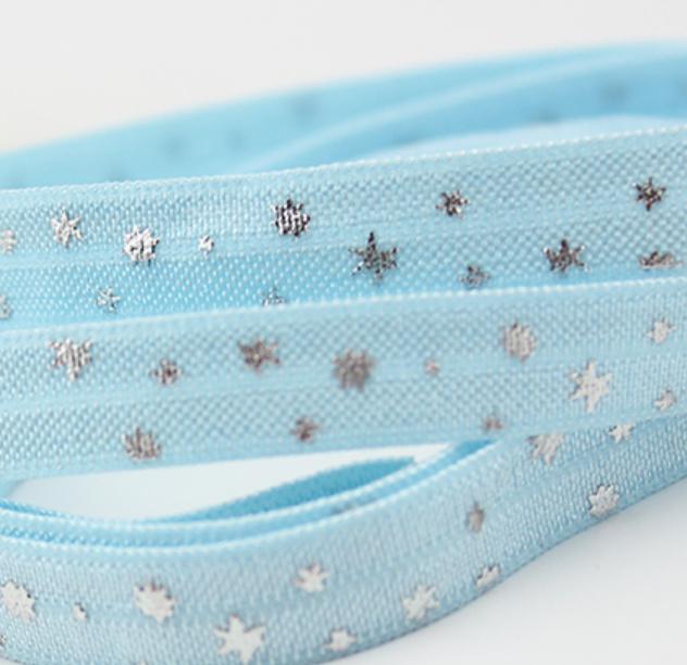 Elastiek stars zilver blauw