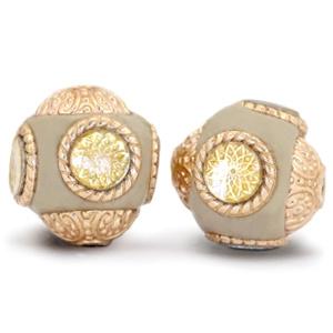 Bohemian kralen 14mm beige goud