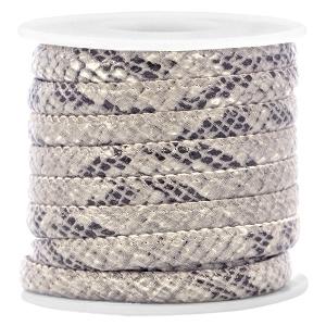 Imi leder snake grey beige 6x4mm