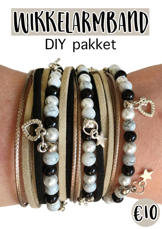 Wikkelarmband DIY pakket beige/zwart