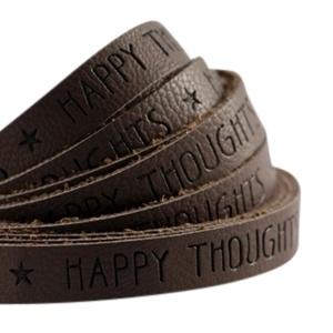 Plat imitatieleer dark chocolate brown 'happy thoughts'