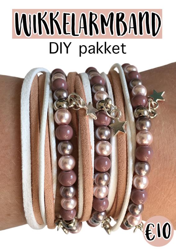 Wikkelarmband DIY pakket roze
