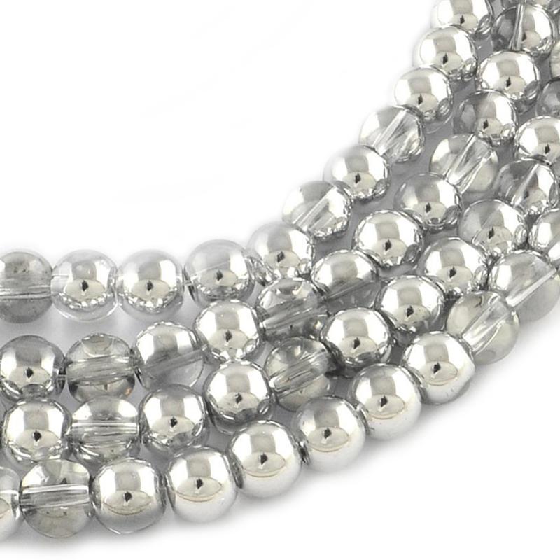 Glaskraal silver plated 4mm
