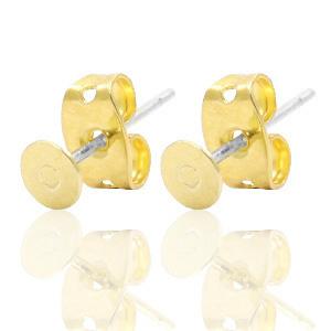 Oorbellen DQ metaal earpin rond 4mm Goud (nikkelvrij)
