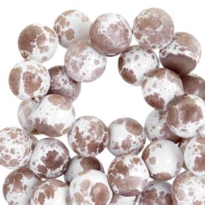 Glaskralen gemêleerd white-chocolate brown 6mm
