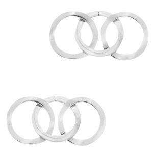 Roestvrij stalen (RVS) Stainless steel bedels/tussenstuk triple circle Zilver