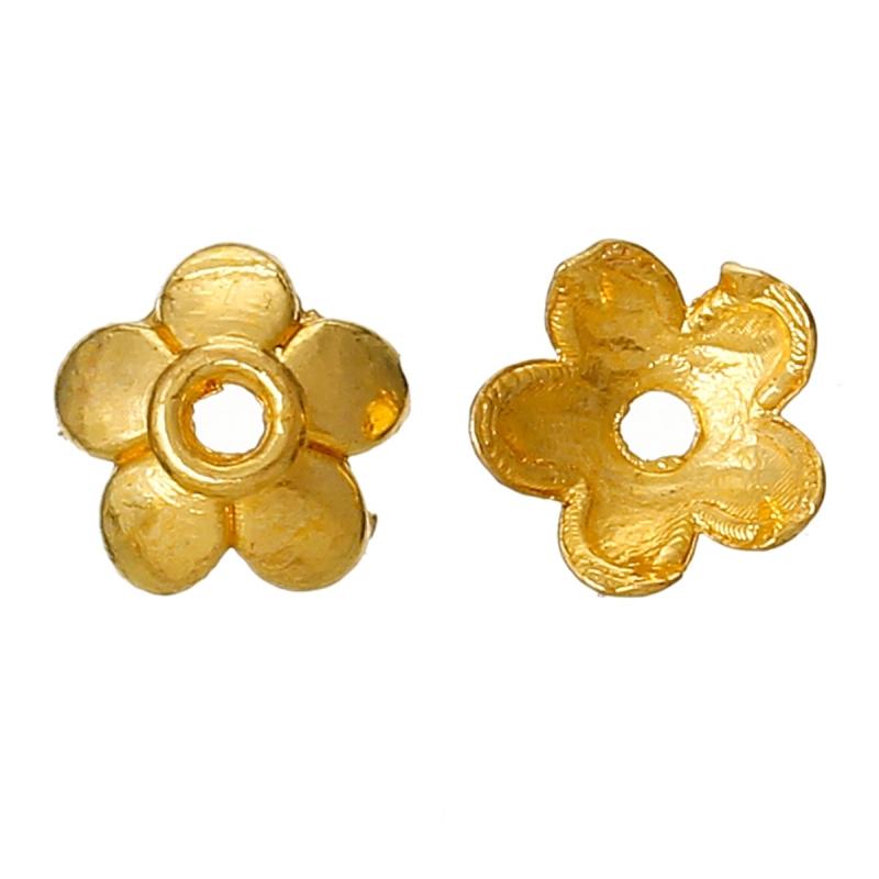 Kralen kapjes bloem goud