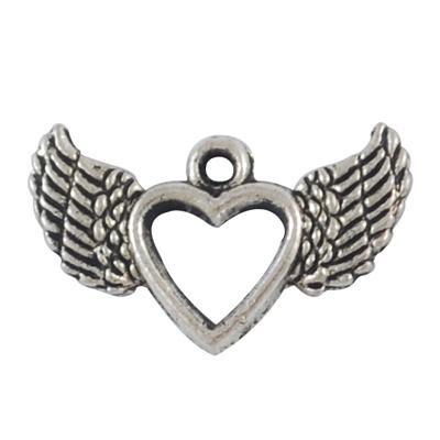 Bedel hart vleugels antiek zilver