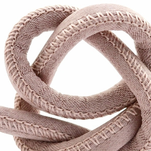 Trendy gestikt koord silk style 6x4mm Rose taupe
