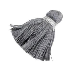 Kwastjes Ibiza style 3.6cm zilver-anthracite grey