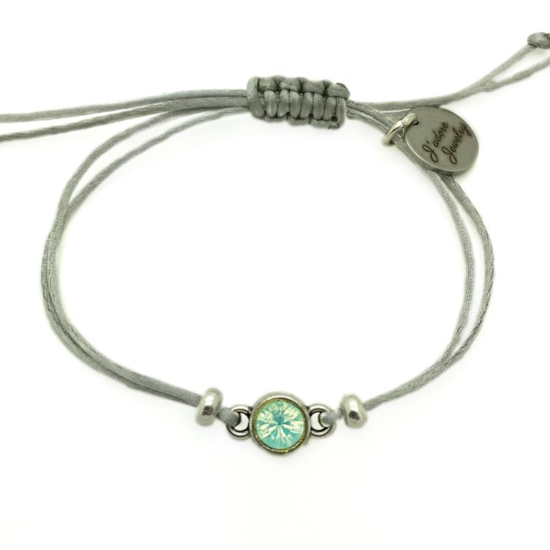 Armbandje ''puntsteen'' - silver,  blue  & zilver