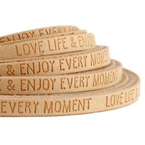 Plat imi leer 5mm met quote Love life Beige