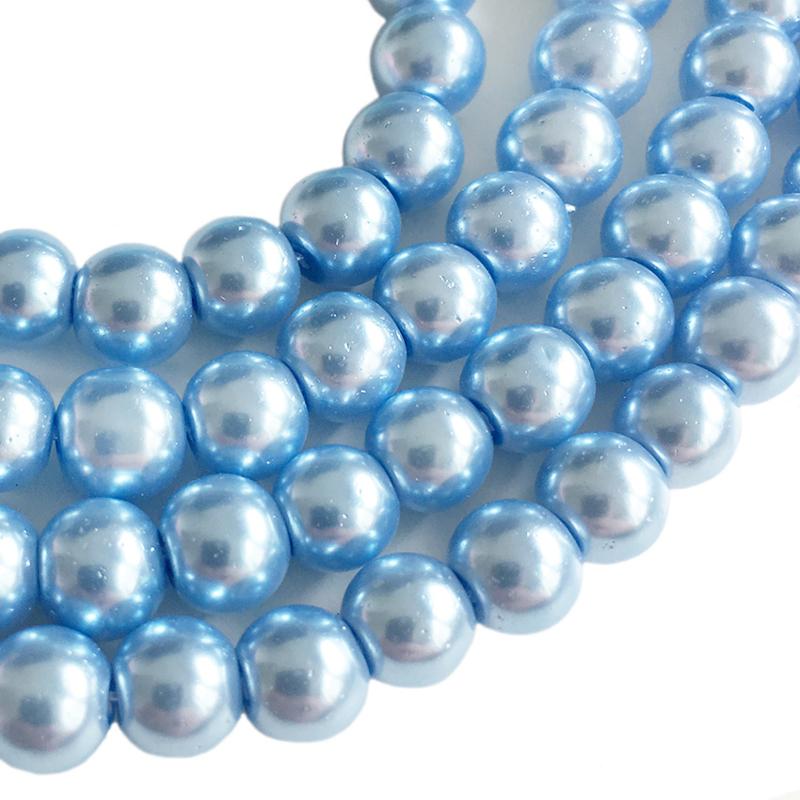 Glaskraal pearl baked blue 6mm