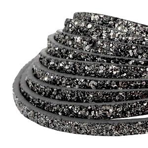 Flach 5 mm Imitat Leder sparkling Anthracite grey