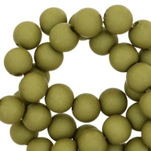 Acryl kralen mat green moss 6mm