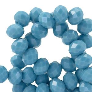 Glaskralen facet blue dream opaque 8x6mm
