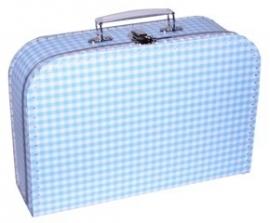 Kinder koffertje 30cm baby blauw ruitje