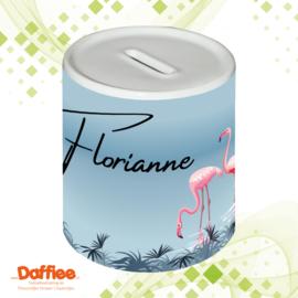 Mok/Spaarpot Flamingo met naam