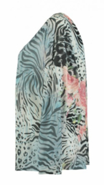 Top aqua print long sleeve