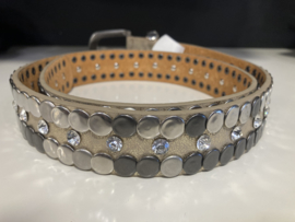 Riem leder studs light taupe