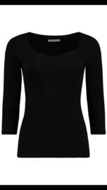 Basic 3/4 mouw tshirt zwart
