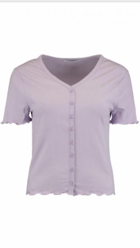 Shirt vhals button Lila