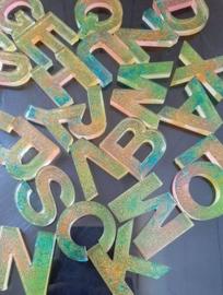 Sleutelhanger Letter neon glitter