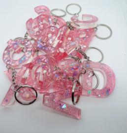 Sleutelhanger Letter roze/glitter