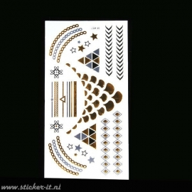 FT013 Flash tattoo zilver / goud