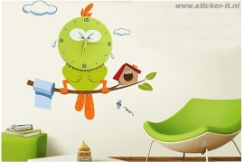 KS001 Kloksticker groene vogel
