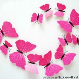 3D vlinders luxe roze