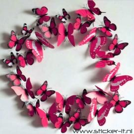 3D vlinders luxe rood