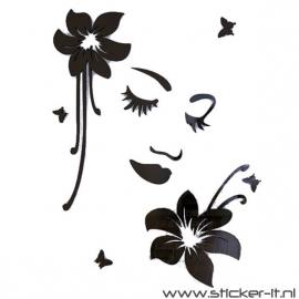 3D sticker - Bloemenmeisje 1 div. kleuren en afmetingen