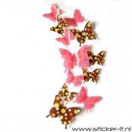3D vlinders bruin-roze