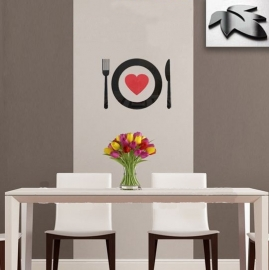 HS004 3D muursticker bord en bestek
