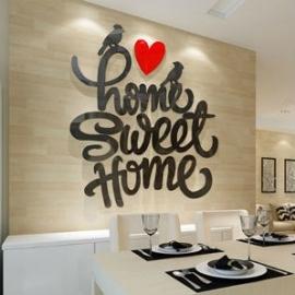 3D sticker - Home sweet home - div. kleuren en afmetingen
