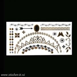 FT009 Flash tattoo zilver / goud